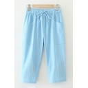 Casual Fancy Womens Drawstring Waist Solid Color Patched Pockets Cropped Carrot-Fit Trousers