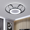Acrylic Rabbit Flush Mount Lighting Contemporary LED Black Ceiling Light Fixture in Warm/White Light