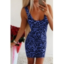 Fancy Hot Girls Sleeveless Scoop Neck Leopard Printed Short Fitted Tank Dress