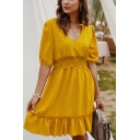 Pretty Ladies Solid Color Half Sleeves V-Neck Ruffled Lace Patched Short A-Line Dress
