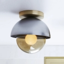 Grey Dome Small Flush Light Mid Century 1 Bulb Metal Ceiling Lamp with Smoke Globe Glass Shade