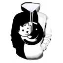 Designer Boys Long Sleeve Drawstring 3D Yin Yang Cat Paw Cartoon Print Colorblock Loose Hoodie in Black and White