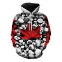 Chic Guys Long Sleeve Drawstring Maple Leaf Rock 3D Printed Pouch Pocket Loose Hoodie