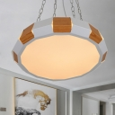 Splicing Polygon Suspension Light Modern Iron White and Wood Grain LED Hanging Pendant in Warm/White Light