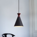 1 Light Bedside Down Lighting Modern Black/Grey/White Finish Pendant Lamp with Flared Metal Shade