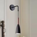 Black/White/Grey Bullet Wall Sconce Minimalist 1-Light Metallic Wall Hanging Lighting for Bedside
