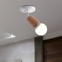 Rotatable Mini Ceiling Lamp Nordic Wood 1 Bulb Foyer Semi Mount Lighting in White with Open Bulb Design