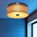 Beige Curved Drum Ceiling Flush Modern 3 Bulbs Wood Flush Mount Light Fixture for Bedroom
