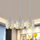 Iron Hollow-Out Cylinder Multi Pendant Light Contemporary 3-Head White Finish Pendulum Lamp with Linear Canopy