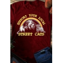 Popular Womens Rolled Short Sleeve Crew Neck Letter SUPPORT YOUR LOCAL STREET CATS Raccoon Graphic Regular Fit T Shirt