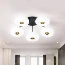 Acrylic Oblong Semi Flush Lighting Modernism 5 Heads Black and Gold LED Flush Mounted Lamp