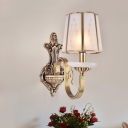 1/2-Head Tapered Wall Lighting Ideas Traditional Brass Frosted Glass Wall Lamp with Quatrefoil Pattern