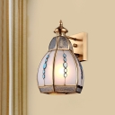 Traditional Domed Wall Light 1 Head Opal Matte Glass Sconce Lighting Fixture in Brass
