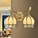 Frosted Glass Brass Sconce Light Dome Shade 1/2-Head Vintage Wall Mounted Lighting with Textured Scalloped Edge