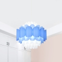 Modern LED Hanging Light Blue and White Blossom Pendant Lamp Fixture with Acrylic Panel Shade