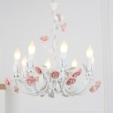 8 Heads Ceiling Chandelier Romantic Style Korean Curved Arm Metallic Pendulum Light in White and Pink