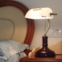 White Print Glass Half Cylinder Table Lamp Vintage 1-Bulb Study Room Reading Light with Pull Chain