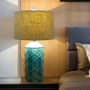 Blue 1 Head Nightstand Lamp Retro Ceramic Lattice Cylinder Table Light with Drum Fabric Shade