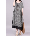 Fashionable Womens Short Sleeve Round Neck Plaid Printed Lace Trim Linen and Cotton Long Oversize Dress