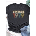 Casual Girls Roll Up Sleeve Crew Neck Letter VINTAGE 1979 Print Fitted Tee