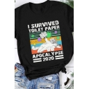 Fancy Cool Girls Rolled Short Sleeve Crew Neck Letter I SURVIVED TOILET PAPER Cat Graphic Relaxed Fit T Shirt