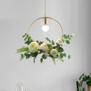 Green Flower Suspension Light Countryside Iron 1-Light Dining Room Ceiling Pendant with Round/Linear/Rectangle Frame