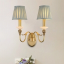2 Heads Gooseneck Arm Wall Lamp Traditional Brass Metal Wall Mount Light with Blue Pleated Fabric Shade