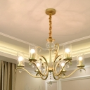 6/8 Heads Pendulum Light Traditional Living Room Chandelier with Cylinder Clear Glass Shade in Gold