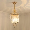 1 Head Pendant Lighting Traditional Living Room Hanging Lamp with Drum Crystal Tube Shade in Gold