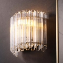 Clear Flute Glass Arch Wall Light Postmodern 4 Heads Wall Sconce Light for Living Room