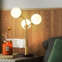 Brass Tree Table Light Postmodern 3 Heads Metal Night Lamp with Ball White Glass Shade