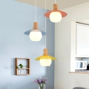 Disk Multi Ceiling Light Macaron Blue-Pink-Yellow Glass 3 Lights Wood Hanging Lamp Kit