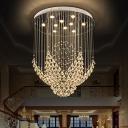 Flower Shape Crystal Drape Flush Mount Modern Stylish 8 Lights Parlor Ceiling Lighting Fixture in Chrome