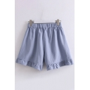 Leisure Solid Color Elastic Waist Stringy Selvedge Cuffs Relaxed Straight Shorts for Girl