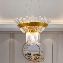 Crystal Rectangle Gold Chandelier Lamp Cone Modernism Hanging Light for Dining Room