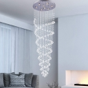 Crystal Orb Spiral Ceiling Lamp Minimalism LED Living Room Flush Light Fixture in Chrome