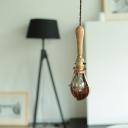 Beige 1-Light Pendant Lighting Industrial Wood Small Bell Hanging Ceiling Lamp for Bedroom
