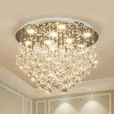 9 Bulbs Flush Mount Bedroom Flush Light Fixture with Cascading Crystal Ball in Chrome