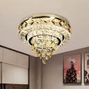 Chrome Round Flush Light Fixture Vintage Faceted Crystal LED Living Room Ceiling Lamp, 19.5