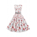 Special Occasion Girls Allover Cartoon Lip Floral Printted Sleeveless Round Neck Belt Mid Pleated Swing Dress in White