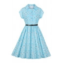 Light Blue Audrey Hepburn Style Daisy Floral Printed Short Sleeve Spread Collar Button up Mid Pleated Swing Dress with Belt