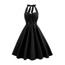 Amazing Sleeveless Halter Ruched Front Bow Tie Back Midi Pleated Swing Prom Dress for Women