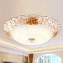 Gold Peony Ceiling Lighting Pastoral Resin LED Bedroom Flush Mount Lamp with Bowl Texture Glass Shade, 12