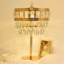LED Night Stand Light Retro Tiers Beveled Cut Crystal Table Lamp with Oriental Element in Gold