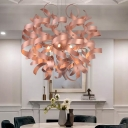Contemporary Spiral Ribbon Shape Pendant Metal 6-Light Restaurant LED Hanging Chandelier in Copper