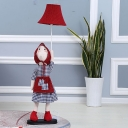 Red Pig Lady Floor Stand Lighting Cartoon 1 Head Fabric Floor Lamp with Bell Shade