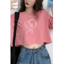 Novelty Girls Half Sleeves Crew Neck Korean Letter Heart Graphic Loose Cropped T-Shirt