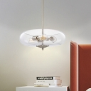 Clear Glass Fish Tank Ceiling Chandelier Simple 3 Lights Chrome Suspension Lamp over Table