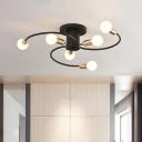 Iron Spiral Arm Semi Flush Mount Lighting Contemporary 6-Bulb Black and Gold Flush Ceiling Lamp