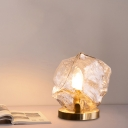 Gem Shaped Living Room Table Light Cognac/Clear Glass 1-Light Modern Night Lamp in Gold